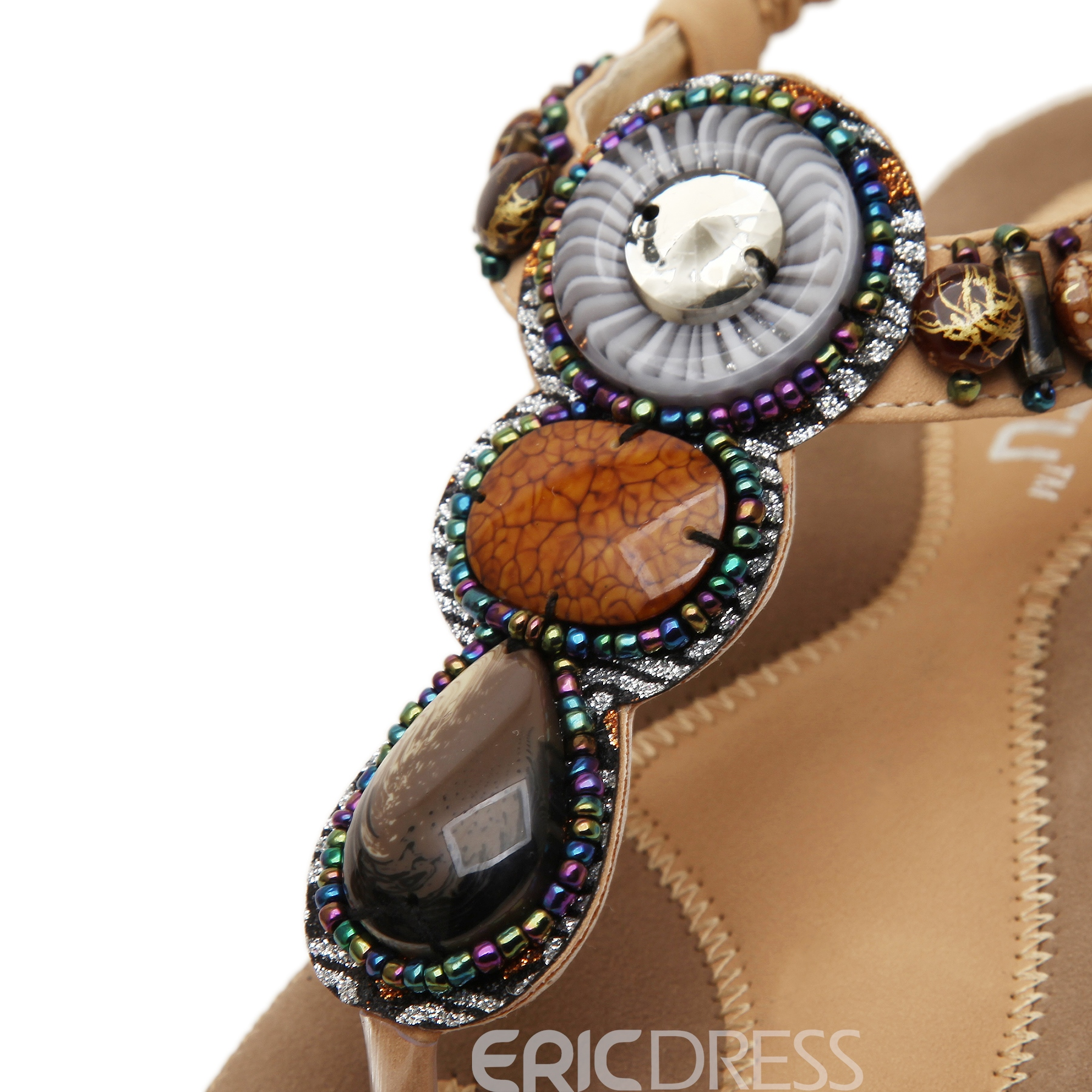 Refreshing Beads Decoration Flat Sandals