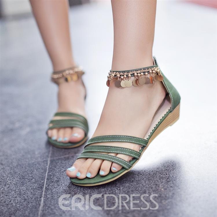 Hollow-outs Flat Sandals with Metal Tassels