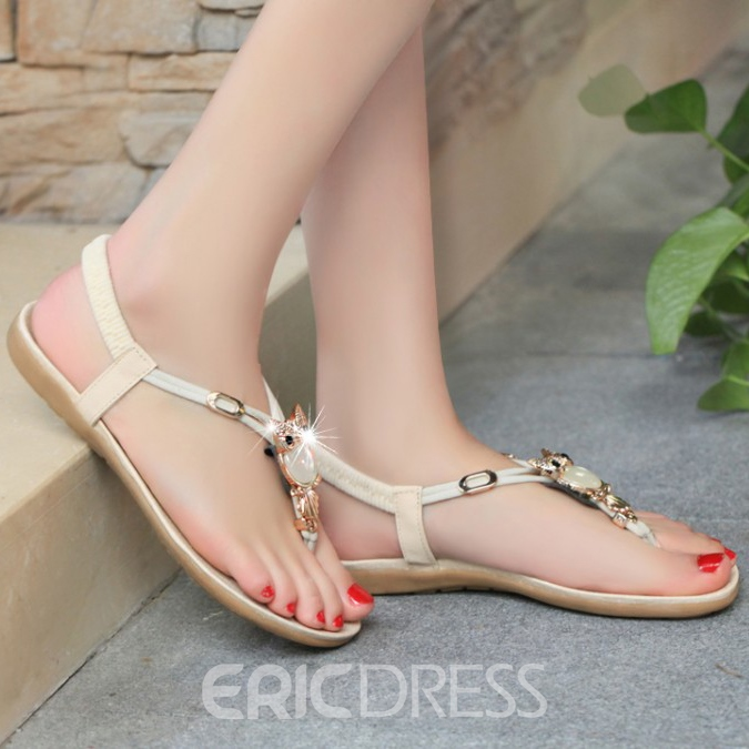 Simple Metal Decoration Flat Sandals