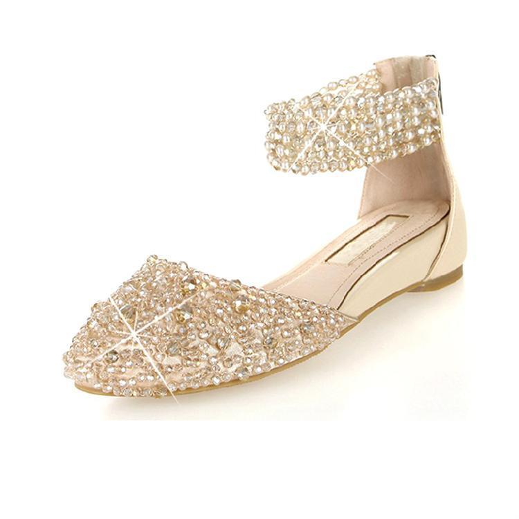 Roman Rhinestone Decoration Pointed-toe Flat Sandals