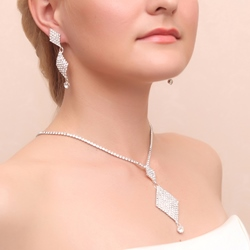 Ericdress Cheap Diamond-Shaped Rhinestone Alloy Wedding Jewelry Set (Including Necklace and Earrings)