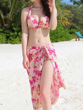 Ericdress Cute Floral Print Three Piece Suit Bikini Set