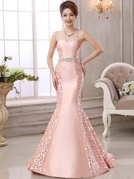 Ericdress Strapless Mermaid Evening Dress With Beaded Waistline