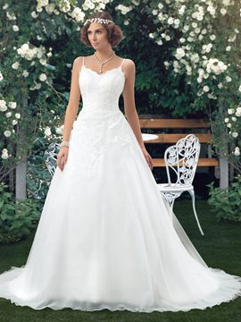 Ericdress Charming Spaghetti Straps Appliques Wedding Dress