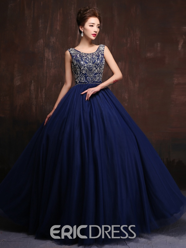 Ericdress A-Line Scoop Beaded Long Prom Dress