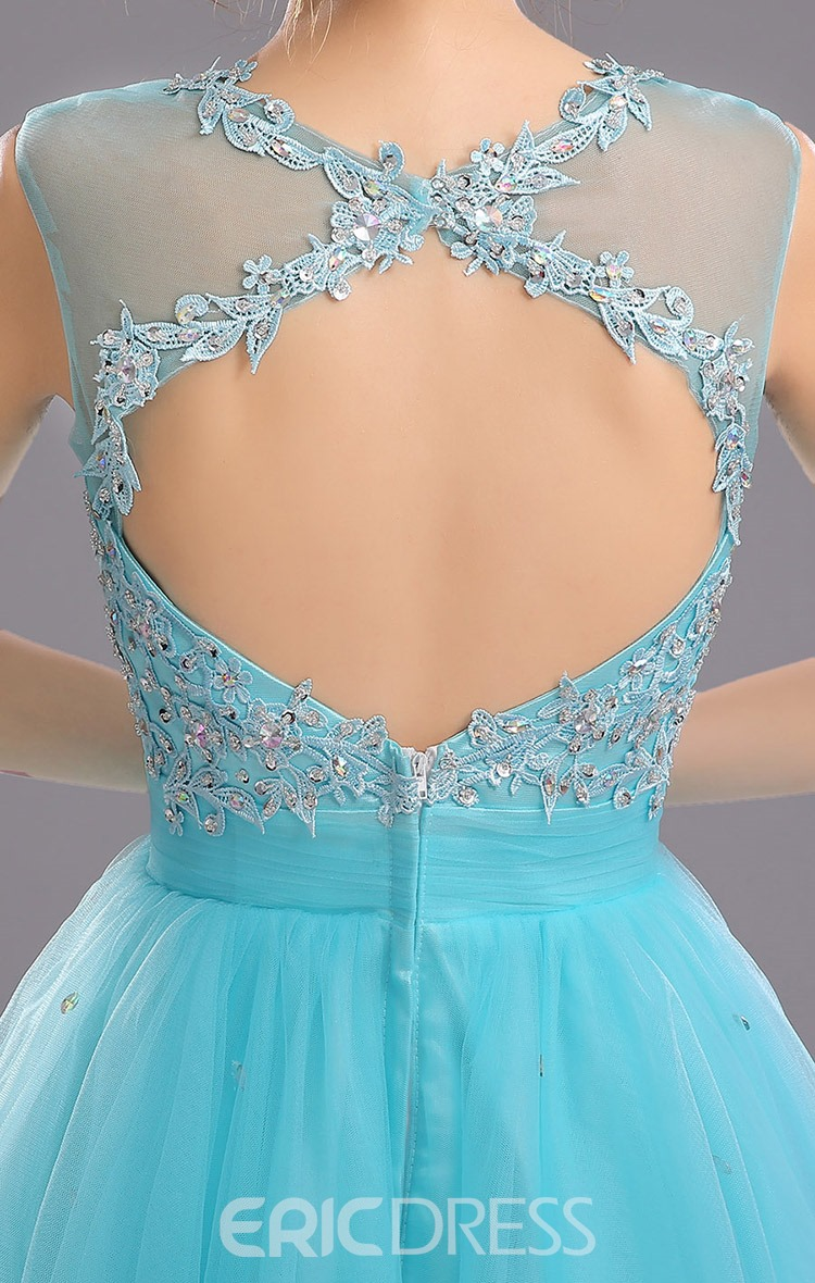 Ericdress Jewel Neck Appliques Open Back A-Line Short Homecoming Dress