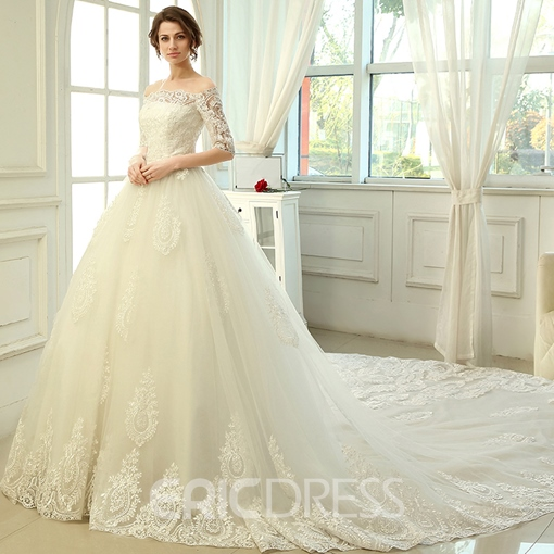 Ericdress Elegant Off the Shoulder Cathedral Train Wedding Dress