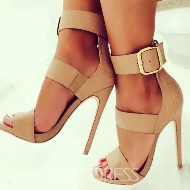 Solid Color Stiletto Sandals with Buckles