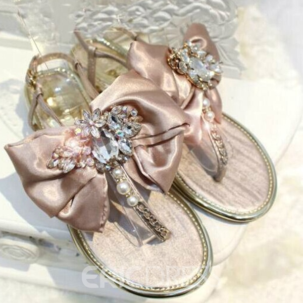 Roman Satin Bowknot and Pearl Flat Sandals