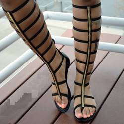 Unique Black Hollow-outs Flat Sandals