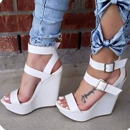 Chic White Wedge Sandals with Buckles