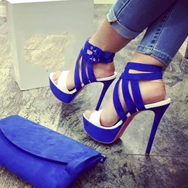 Blue Hollow Out Open-toe Stiletto Sandals