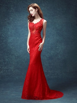 Ericdress Classic V-Neck Lace Appliques Sequins Long Mermaid Evening Dress