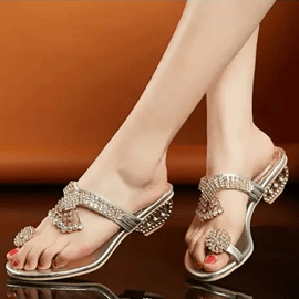 Ericdress Clip Toe Jeweled Slippers