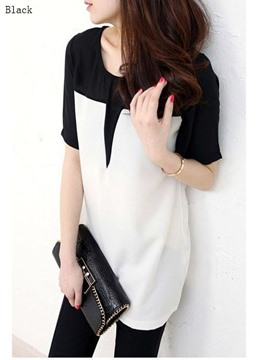 Ericdress Regular Round Neck Patchwork Mid-Length Short Sleeve Blouse