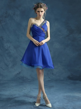 Ericdress A-Line One-Shoulder Crystal Short Homecoming Dress