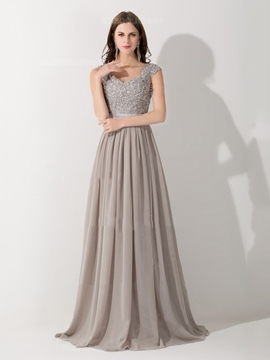 Ericdress Cap Sleeves Appliques Sequins A-Line Long Evening Dress