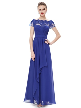 Ericdress ziemlich a-line Bateau Applikationen langes Abendkleid