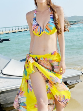 Ericdress Print Lace-Up Three-Piece Swimwear