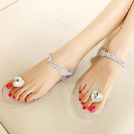 Transparent Heart Decoration Flat Sandals