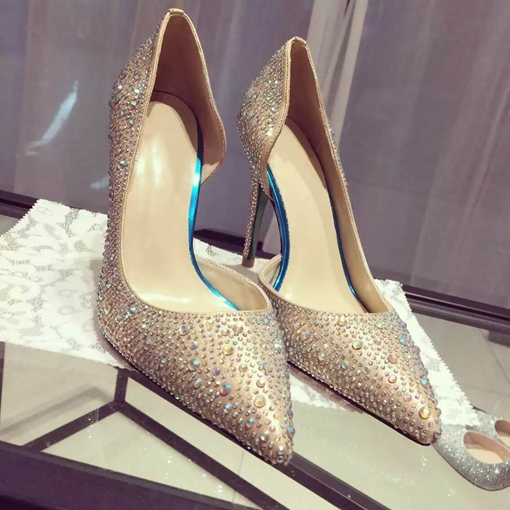 Ericdress Rhinestone Pointed Toe Stiletto Heel Prom Shoes