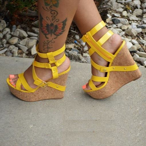 Ericdress Hollow Out Solid Color Buckle Wedge Sandals