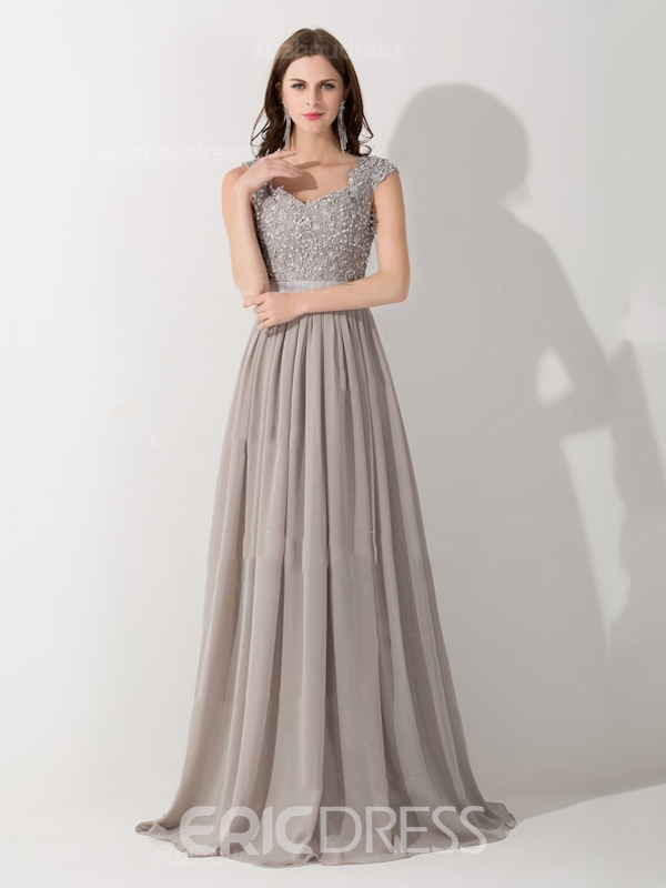 Ericdress Cap Sleeves Appliques Sequins A-Line Long Evening Dress ...