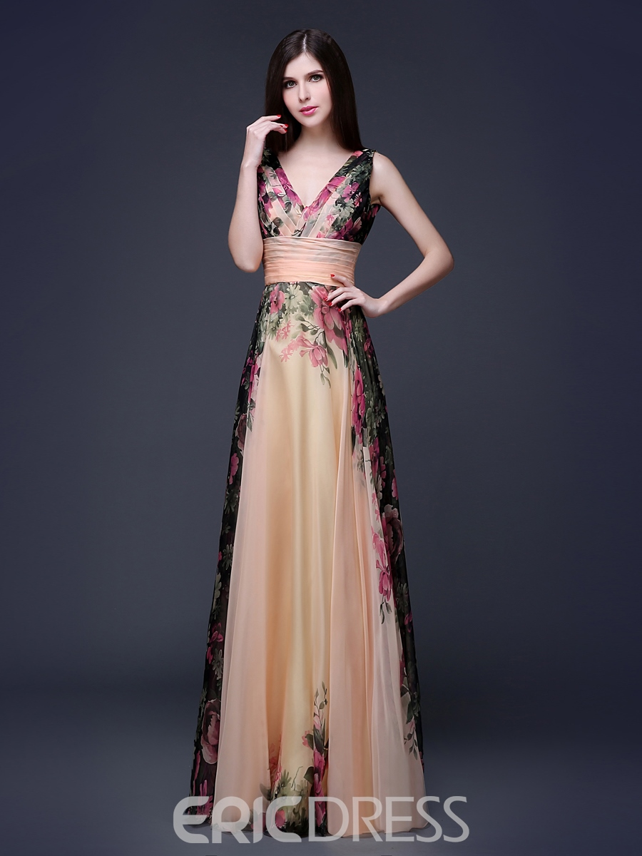 Ericdress V-Neck Ruches Printing Long Prom Dress
