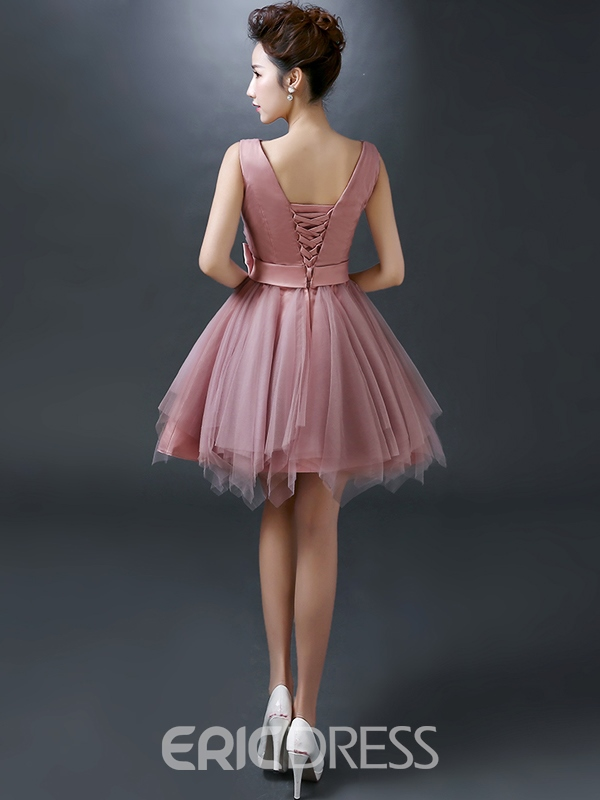 Ericdress A-line Ruched V-Neck Bowknot Mini Homecoming Dress