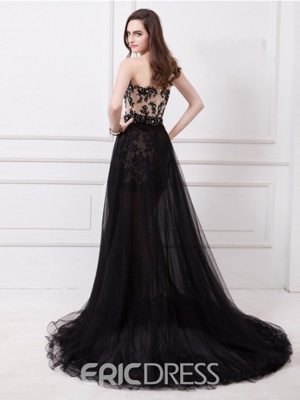 Ericdress A-Line Front-Split Prom Dress With Detachable Train
