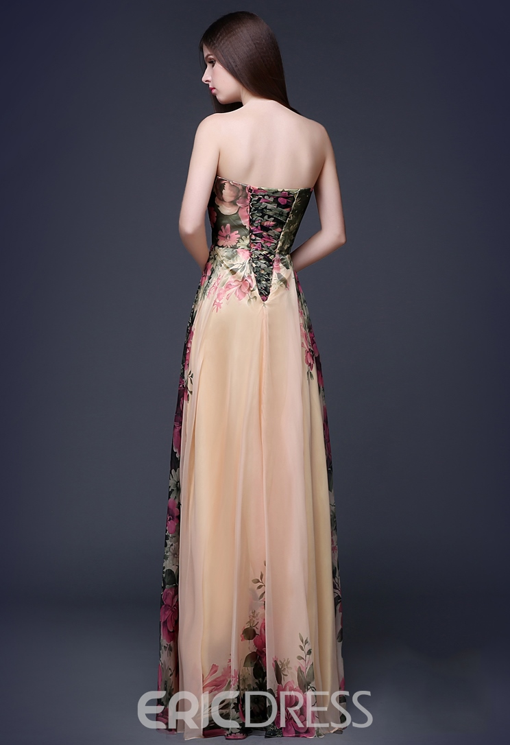Ericdress Strapless A-Line Floor-Length Printing Evening/Prom Dress