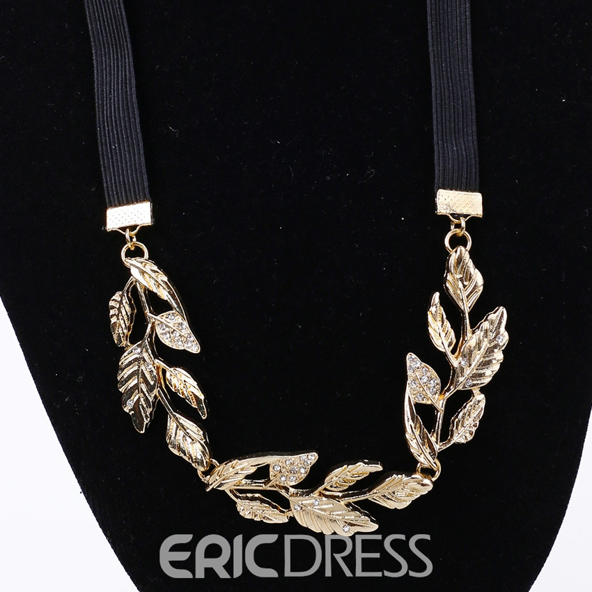 Ericdress Diamante Leaf Shape Elastic Headband for Women