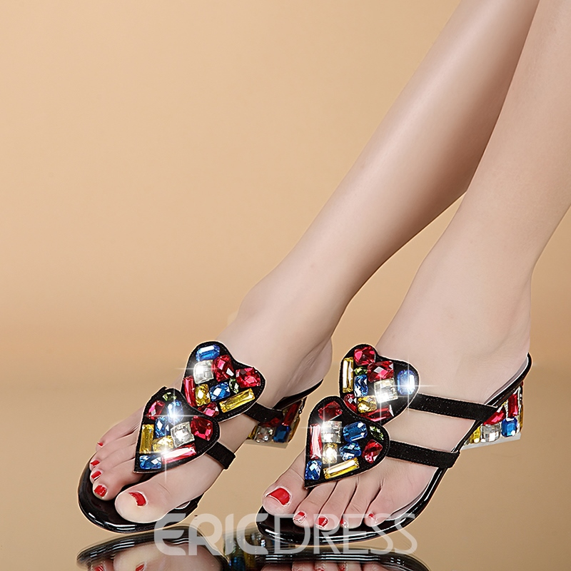 Colorful Heart Crystal Clip-toe Flat Sandals