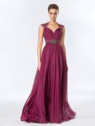 Image of A-Line Floor-Length Crystal Lace Evening Dress