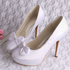 Ericdress Fashion Round Toe Beading Bowknot High Heel Wedding shoes