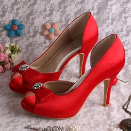 Ericdress Beautiful Satin Rhinestone Bowknot High Heel Wedding Shoes