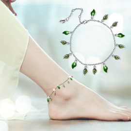 Ericdress Leaf Pendant with Rhinestone Anklet