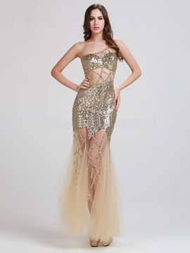 Ericdress Sexy Sequined One Shoulder See-through Evening Dress