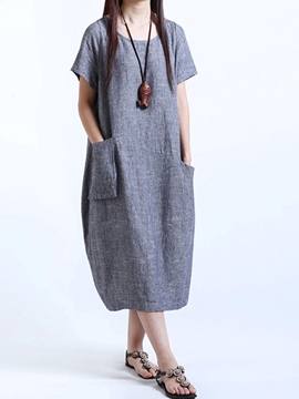 Ericdress Plain Cotton Blends Casual Dress