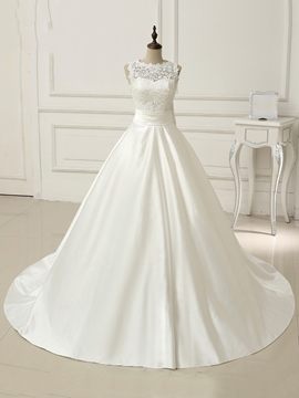 Classy Bateau Sweep Train Lace Wedding Dress