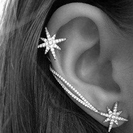 Ericdress Chic Snowflake Diamante Earrings