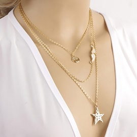 Unique Metal Chain Decorated Three-layers Necklace