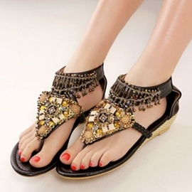 Ethnic Retro Beads Thong Flat Sandals