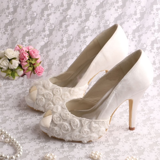 Ericdress Pretty Lace High Heel Wedding Shoes