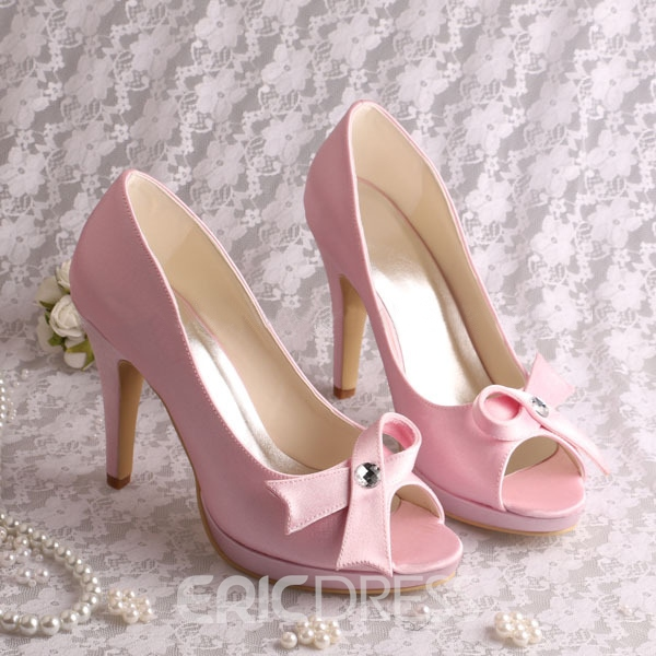 Ericdress Pretty Satin Bowknot High Heel Wedding Shoes