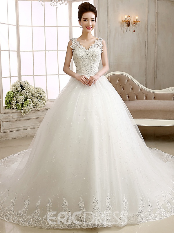 Ericdress V-Neck Appliques Beading Cathedral Train Wedding Dress