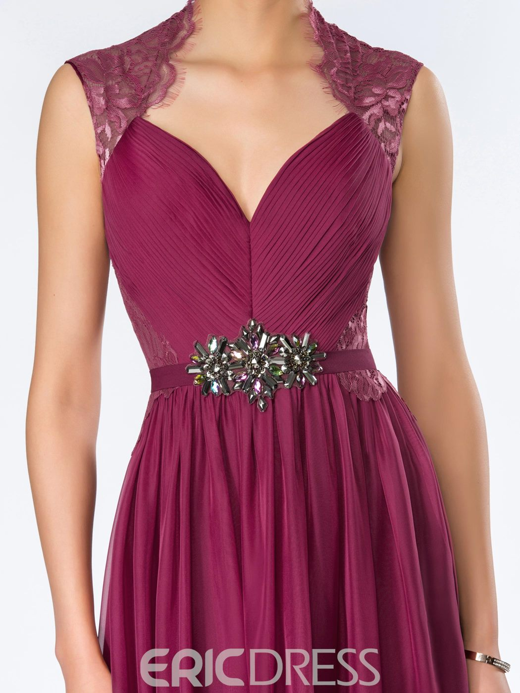 A-Linie bodenlang Crystal Lace Abendkleid