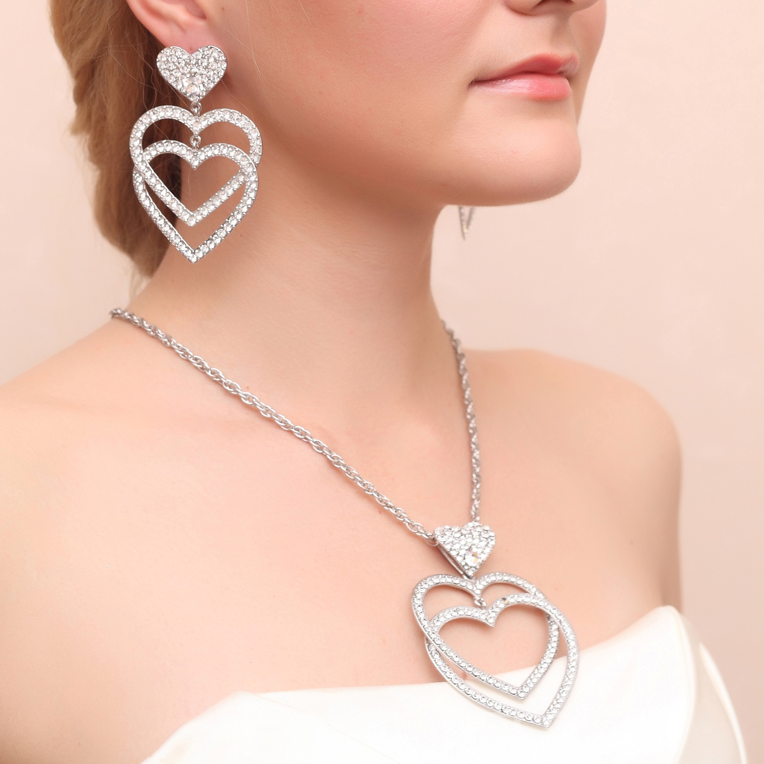 Ericdress Chic Alloy Rhinestone Heart Shaped Wedding Jewelry Set