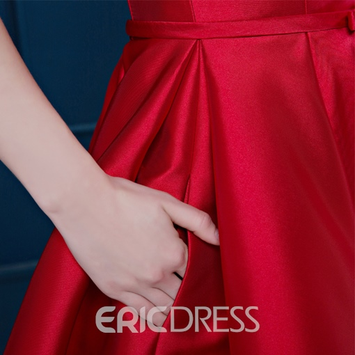 Ericdrsess Off-the-Shouder Bowknot Lace-up Cocktail Dress