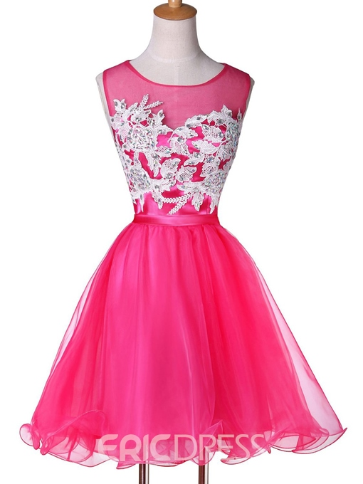 Ericdress A-Line Scoop Neck Appliques Beadings Homecoming Dress